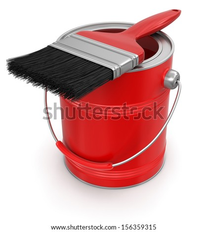 Paint can with brush (clipping path included) - stock photo