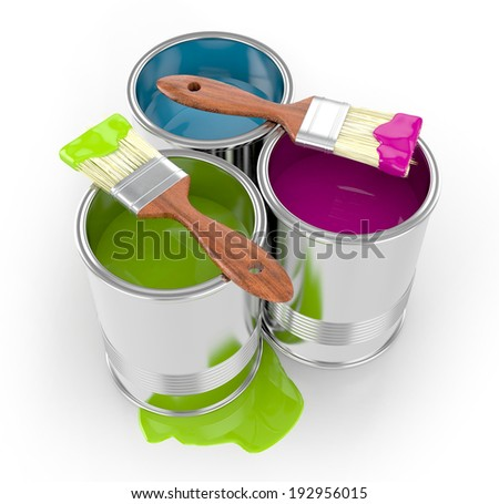 paint can with paintbrushes and paint isolated on white background. 3d illustration - stock photo