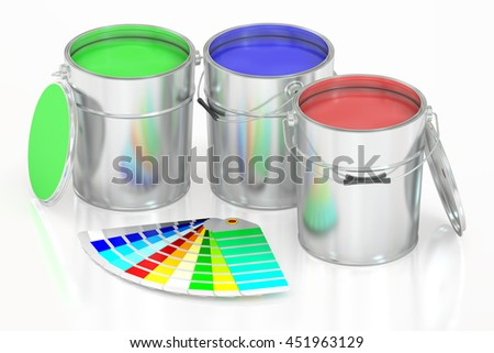 Paint cans and palette, 3D rendering isolated on white background