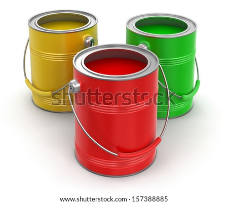 Paint cans (clipping path included) - stock photo