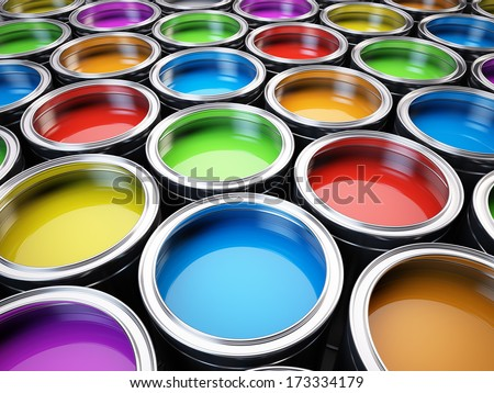 Paint cans color palette - stock photo