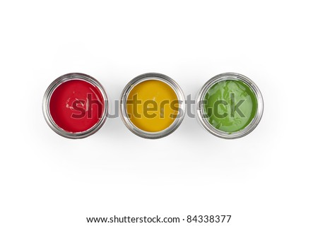 Paint cans in traffic light colors