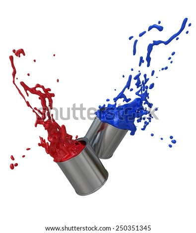 Paint Cans on White - stock photo