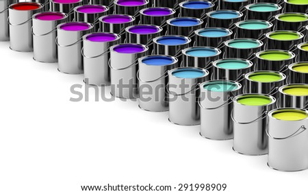 Paint cans with different colors - stock photo