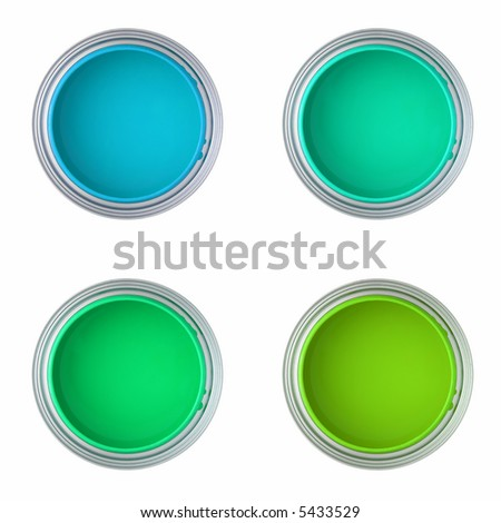 paint cans with green and blue paint (top view, isolated on white ) - stock photo
