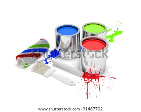 Paint cans with paintbrush - stock photo