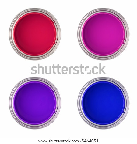 paint cans with red, pink, purple and blue paint (top view, isolated on white ) - stock photo
