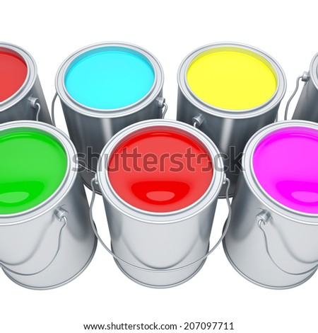 Paint cans with varicoloured paints - stock photo