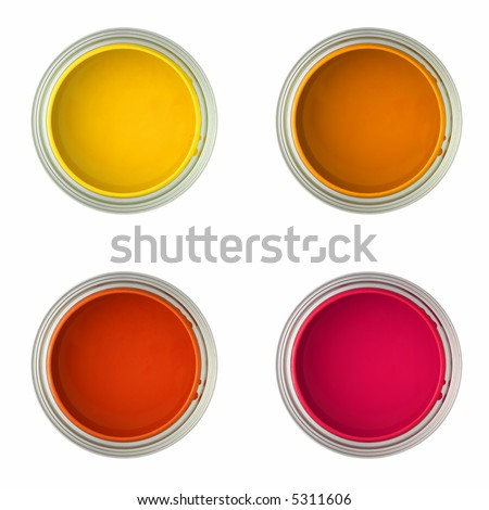 paint cans with yellow, orange, red and pink paint (isolated on white, top view) - stock photo