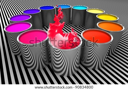paint color metal can 3d image background - stock photo