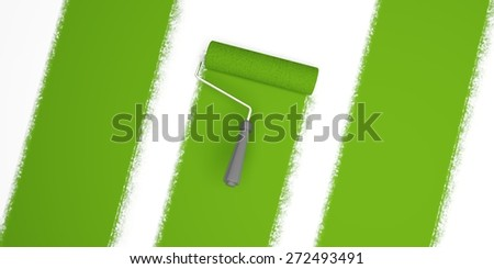 Paint. 3D. Painting Green Stripes - stock photo