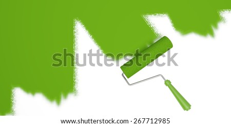 Paint. 3D. Painting with Green Roller - stock photo