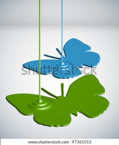 Paint Dripping Butterflies - stock photo