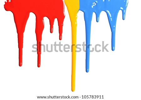 Paint Dripping in primary colors isolated on a white background