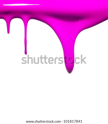 Paint dripping in purple - stock photo