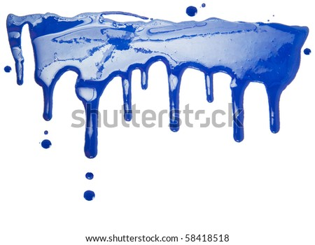 Paint dripping isolated on white background - stock photo