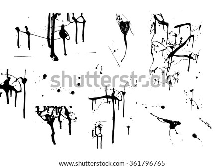 paint drips set, a collection of brushes, splashes  - stock photo