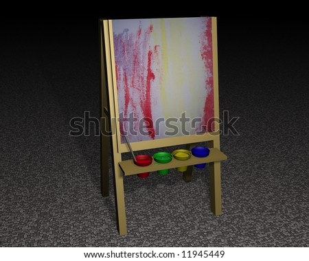 Paint Easel with paint pots and abstract painting - stock photo