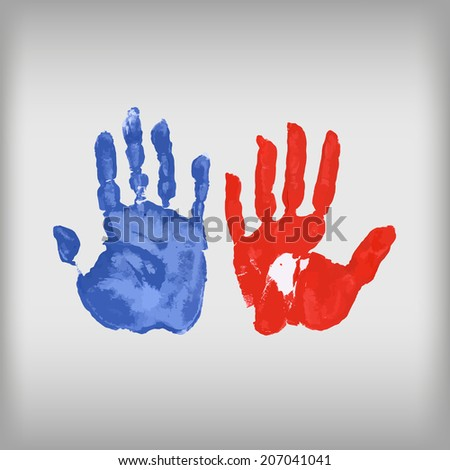 Paint mark hands woman and man