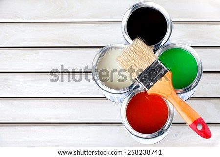 Paint, Paint Can, Hardware Store. - stock photo