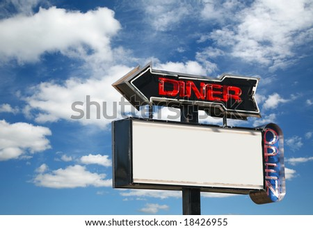 Paint peeling from a 60s era old neon diner sign. - stock photo