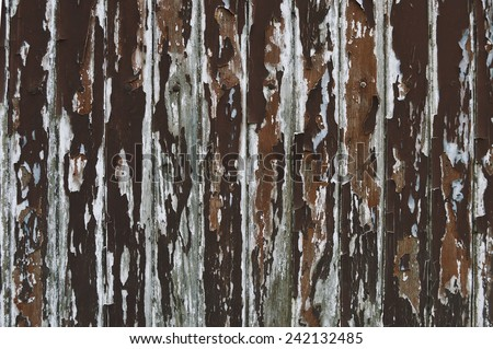 Paint peeling wooden old wall texture detail - stock photo