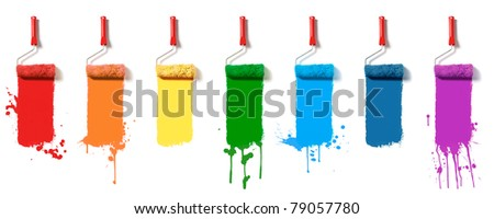 Paint roller brush set. Seven colors paint rollers