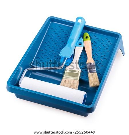 paint roller brush tray Isolated on white background - stock photo
