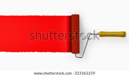 Paint roller covering wall with red color background. - stock photo