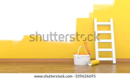 Paint, roller for a paint and a ladder near a wall of yellow colour. 3d illustration - stock photo