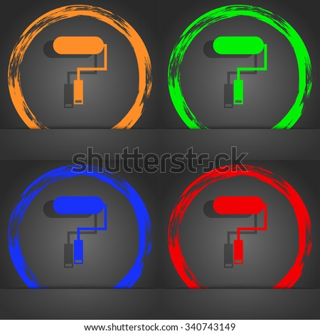 Paint roller sign icon. Painting tool symbol. Fashionable modern style. In the orange, green, blue, red design. illustration - stock photo