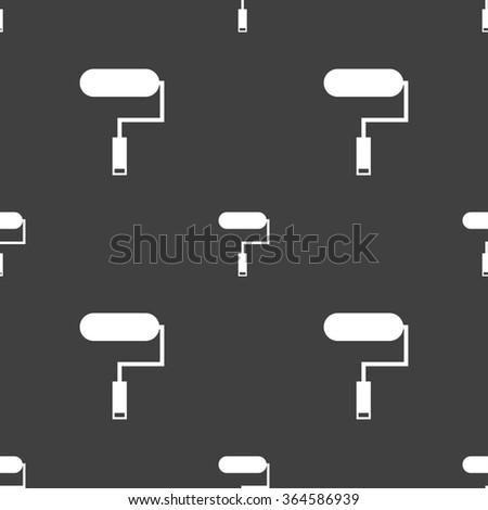 Paint roller sign icon. Painting tool symbol. Seamless pattern on a gray background. illustration - stock photo