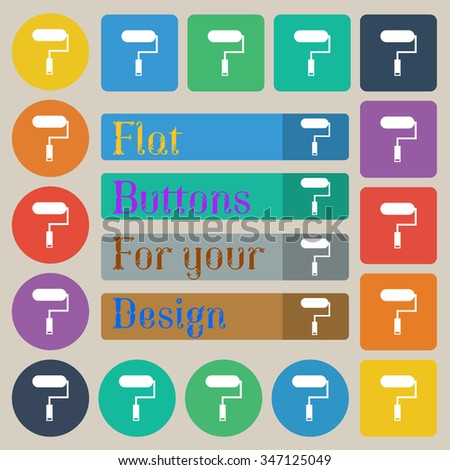 Paint roller sign icon. Painting tool symbol. Set of twenty colored flat, round, square and rectangular buttons. illustration - stock photo