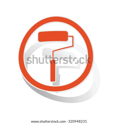 Paint roller sign sticker, orange circle with image inside, on white background - stock photo