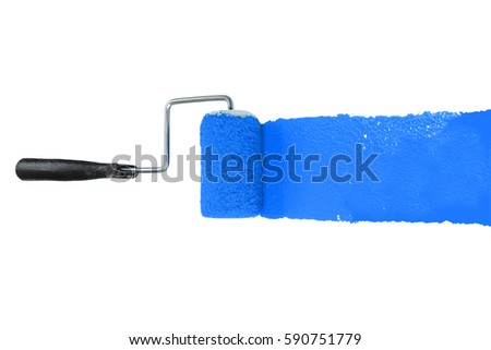 Paint roller with blue pigment isolated over white background