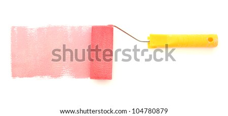 Paint roller with red paint isolated on white