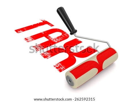 Paint roller with Tax - stock photo