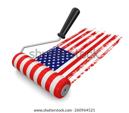 Paint roller with USA flag (clipping path included) - stock photo