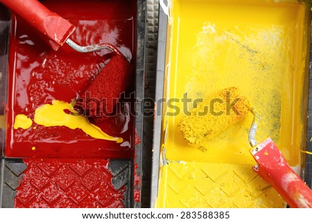 paint rollers of workplace, close up - stock photo