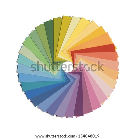 Paint Samples in Color Wheel Formation Isolated on White Background. - stock photo
