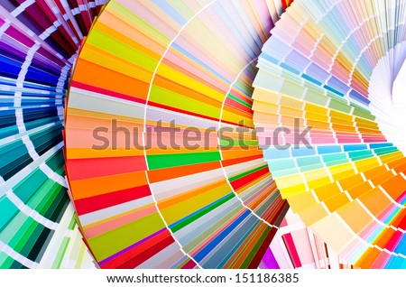 Paint samples.Sample of colorful paint. Choosing the right color. - stock photo