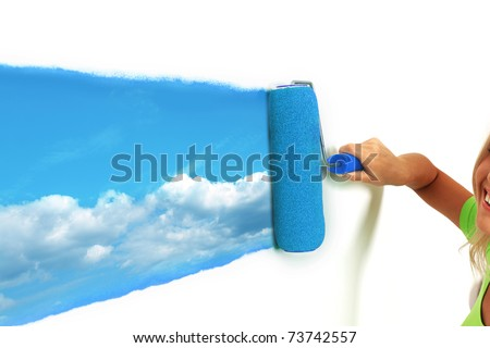 paint sky on the wall - stock photo