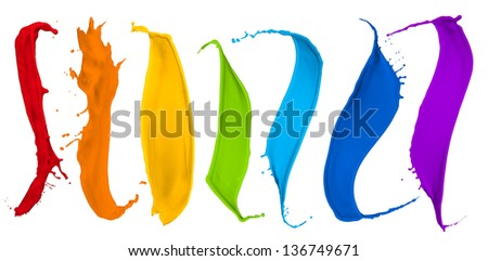 paint splash collection in rainbow colors - stock photo