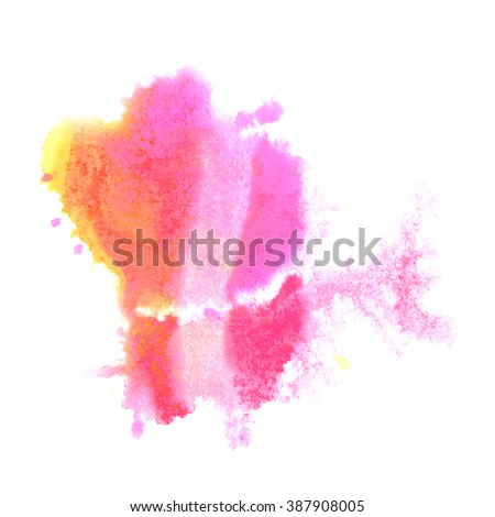 paint splash  pink yellow color ink watercolor isolated stroke splatter watercolour aquarel brush - stock photo