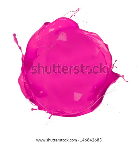 Paint splashes circle isolated on white background - stock photo