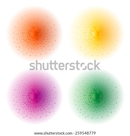 Paint spray effect.Orange, yellow, purple, green color splashes spheres. Raster clip art illustration isolated on white - stock photo