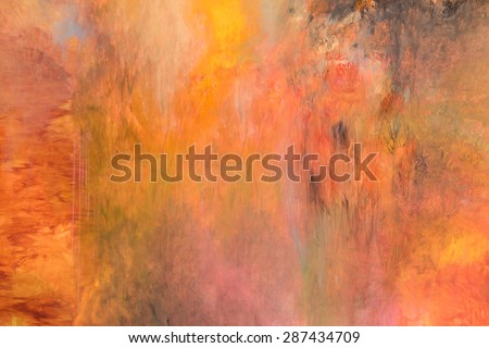 Paint Stroke With different color patterns: yellow, red, orange, splatters color, abstract - stock photo