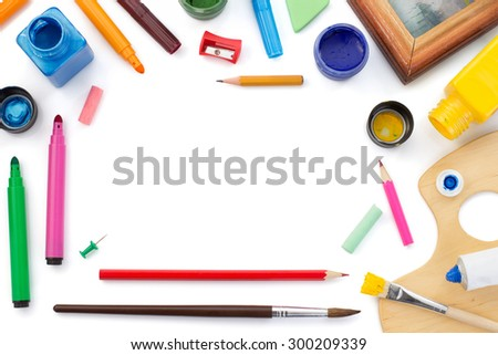 paint supplies isolated on white background - stock photo