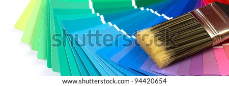 paint swatches with paintbrush - stock photo