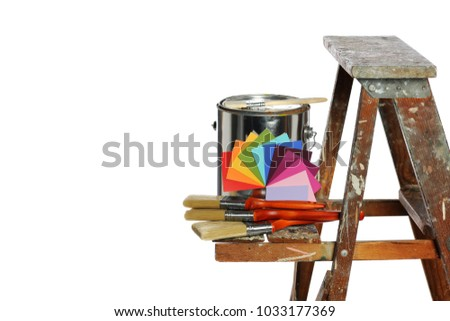 Paint, watches and brushes on a ladder with space for text isolated on white